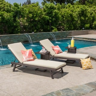 Christopher Knight Home Waveland Adjustable Wicker Chaise Lounge with Cushion (Set of 2)