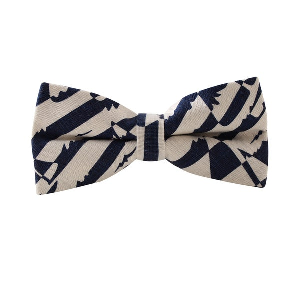 Knot Society Men's Grey Anchor Print Bow Tie
