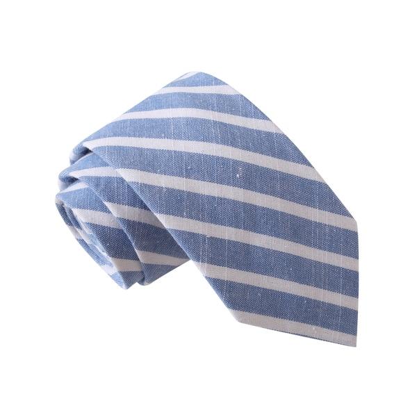 Knot Society Men's Blue Striped Chambray Tie