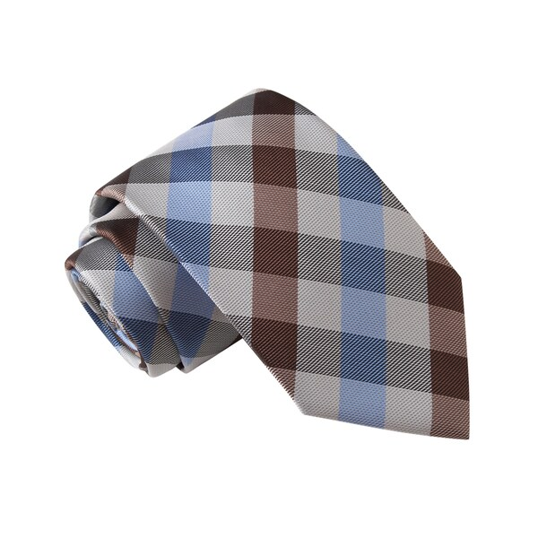 Knot Society Men's White Plaid Extra Long Tie
