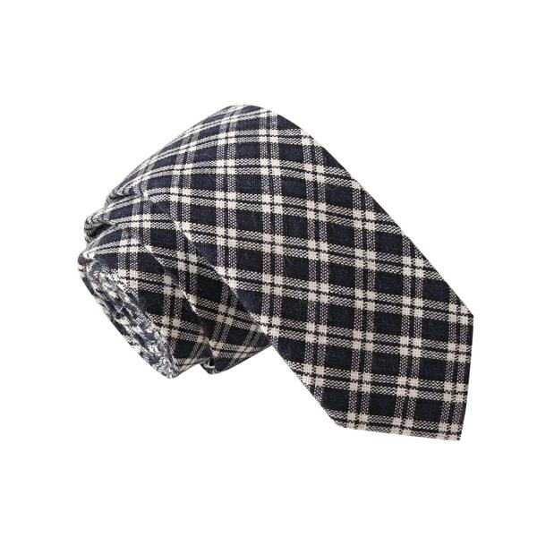 Knot Society Men's Black Plaid Skinny Tie