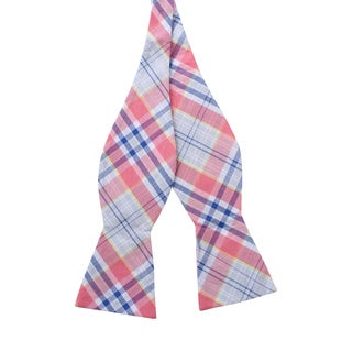 Knot Society Men's Pink Plaid Bow Tie