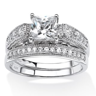 PalmBeach 1.50 TCW Princess-Cut Cubic Zirconia Two-Piece Vintage Bridal Set in 10k White Gold Classic CZ