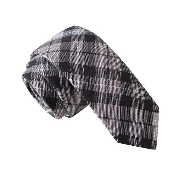 Knot Society Men's Grey Plaid Skinny Tie