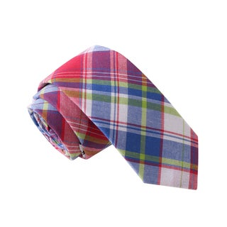 Knot Society Men's Multi Color Plaid Skinny Tie