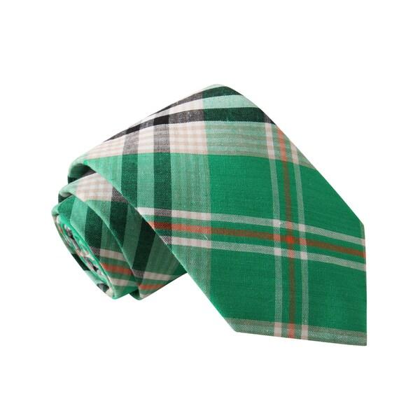 Knot Society Men's Green Plaid Tie