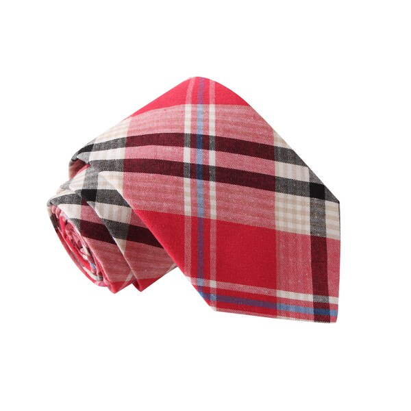 Knot Society Men's Red Plaid Tie