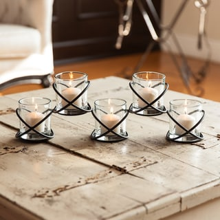 Danya B Five Glass Multiple Candleholder on Orbits Metal Stand