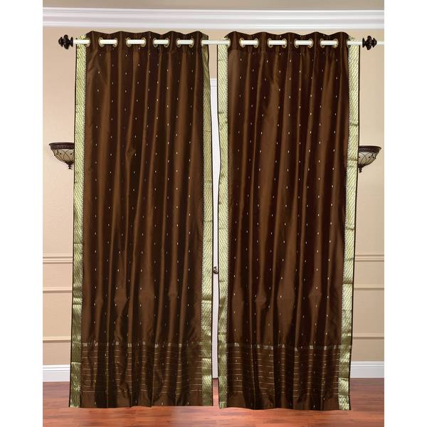 84-inch Brown Ring Top Sheer Sari Curtain Drape Window Panel