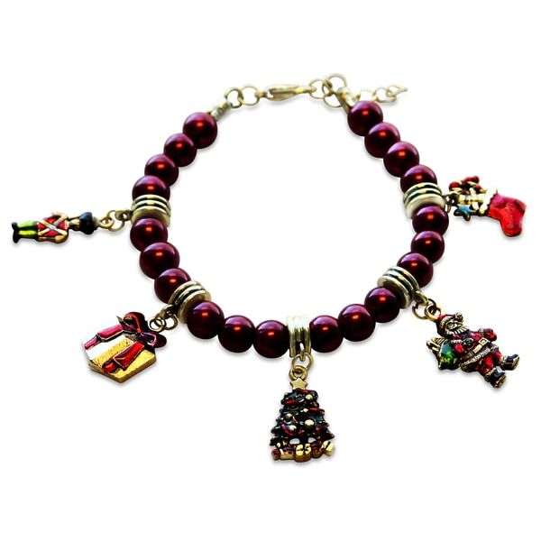 Gold Overlay Christmas Glass Charm Bracelet