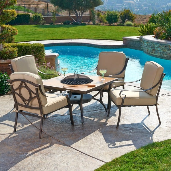 Grant 5-piece Aluminum Conversation Set with Fire-Pit
