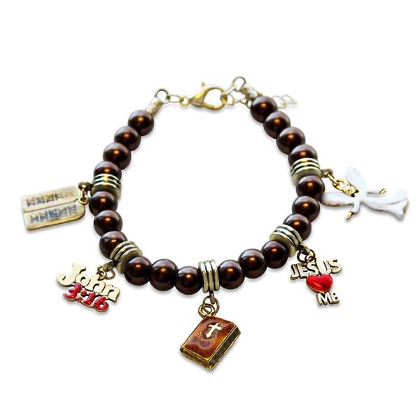Gold Overlay Religious Glass Charm Bracelet