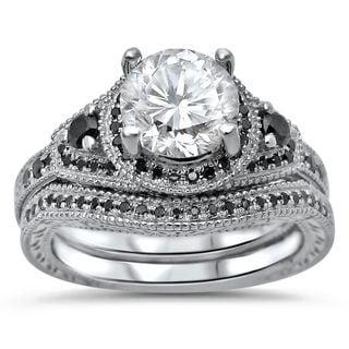 Noori 14k White Gold Moissanite and 1/3 TDW Black Diamond Engagement Ring Set