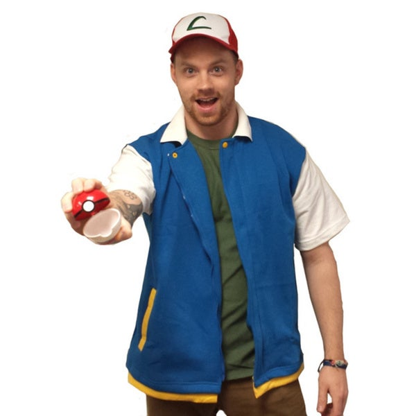 Ash Ketchum Jacket Pokemon Original Blue Coat Costume Shirt Adult High Quality