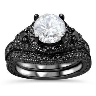 Noori 14k Black Rhodium Plated Gold Moissanite and 1/3 TDW Black Diamond Engagement Ring Set (VVS1/VVS2)
