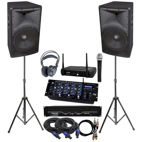 Pyle KTHSP470 Complete DJ System with 2100 Watts Amp/ 2-way Speakers/ Mixer/ Bluetooth/ Microphone/ Headphones/ Stands/ Cables