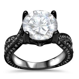 Noori 14k Black Rhodium-plated Gold Moissanite and 4/5 TDW Black Diamond Engagement Ring