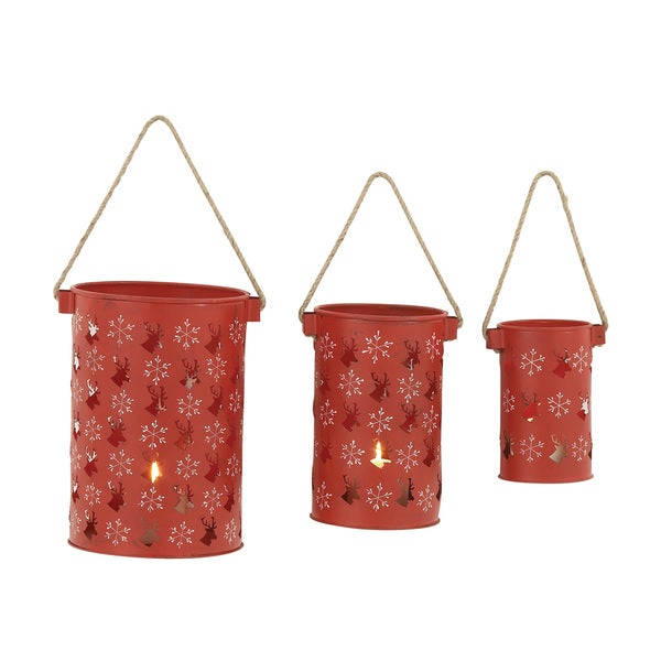 Metal Red Candle Lanterns (Set of 3)