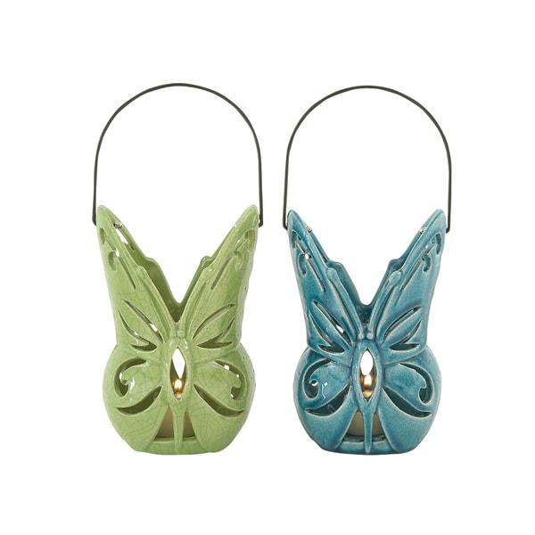 Blue/ Green Ceramic Lanterns