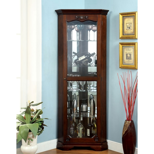 Furniture of America Jora Traditional Walnut Corner Curio Cabinet