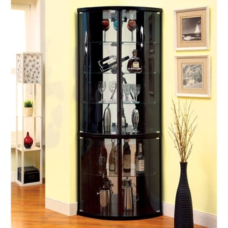 Furniture of America Toris Contemporary Espresso Corner Curio Cabinet
