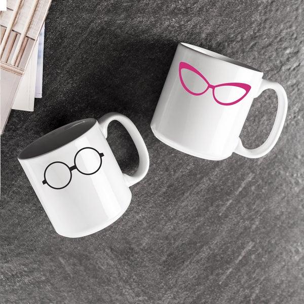 Geek Glasses Large Coffee Mugs (Set of 2)