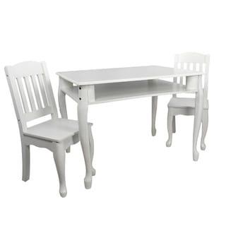 Teamson Kids - Windsor Rectangular Table & Set of 2 Chairs - White