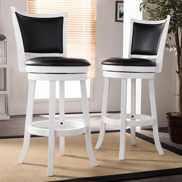 Watson White Solid Wood Swivel Bar Stool With Black Faux