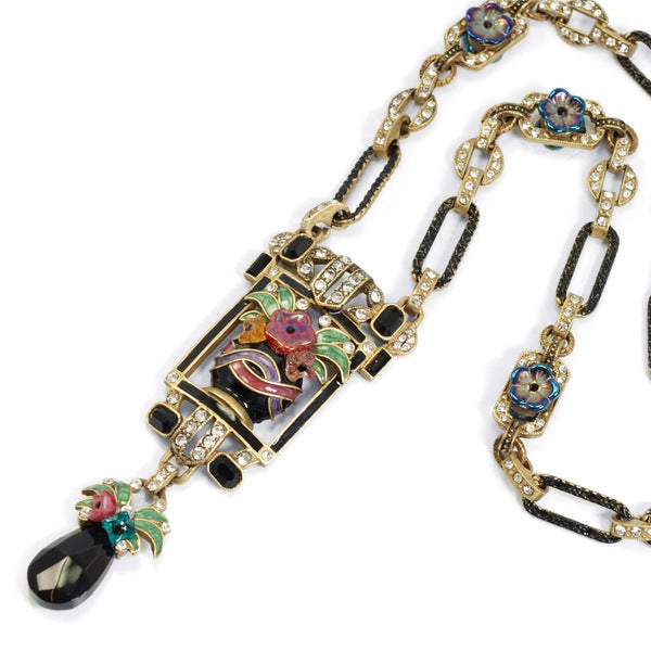 Sweet Romance Art Deco Enamel Flower Vase Vintage Necklace 15679665