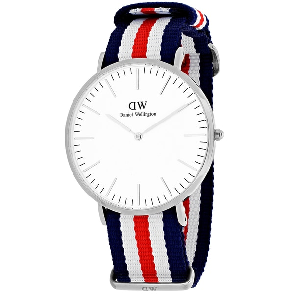 Daniel Wellington Men's 0202DW 'Canterbury' Blue, White and Red Nylon Watch