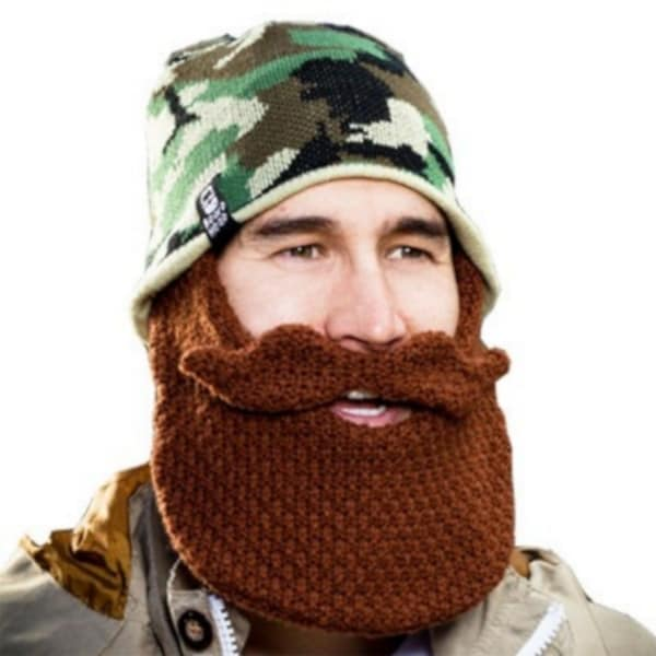 Camouflage Brown Beard Head Knit Hat Beanie Snowboard Bearded Mustache Camo Cap