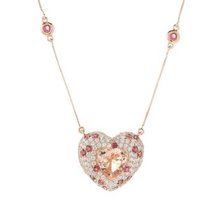 14k Rose Gold Morganite, Pink Tourmaline and Diamond-cut White Zircon Heart-shaped Necklace
