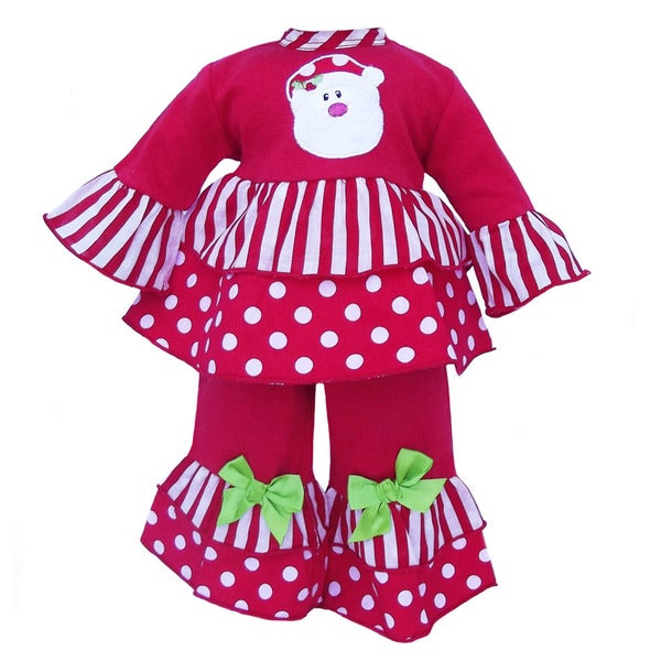 AnnLoren 2-piece Christmas Santa Polka Dot 18-inch Doll Outfit