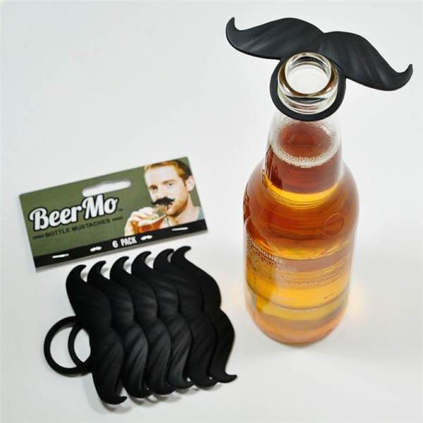 Black Mustache Beer Mo Humor 6-pack Bottle Accessories
