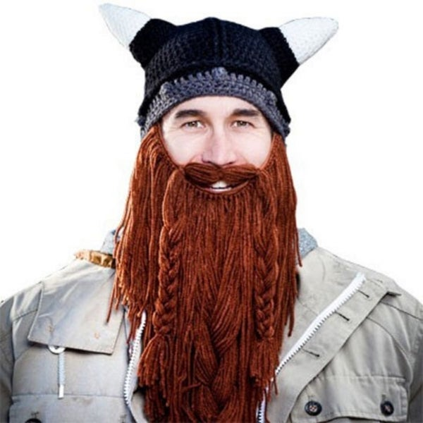 Barbarian Pillager Beard Head Viking Knit Hat Ski Snowboard Bearded Mustache Cap