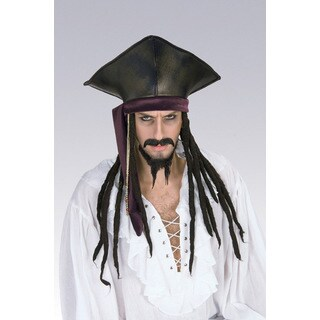 Caribbean Pirate Captain Hat with Dreadlocks