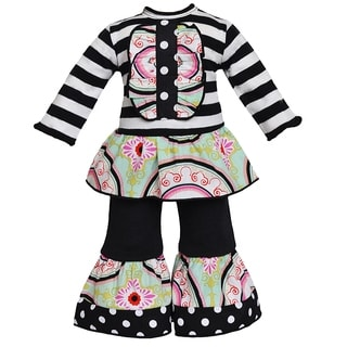 AnnLoren 2-piece Medallion and Stripes 18-inch Doll Outfit