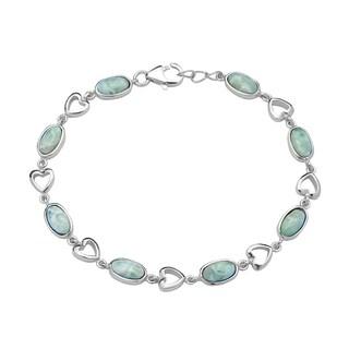 La Preciosa Sterling Silver Natural Larimar Oval and Heart Link Bracelet