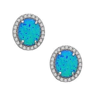 La Preciosa Sterling Silver Created Opal and Cubic Zirconia Oval Stud Earrings