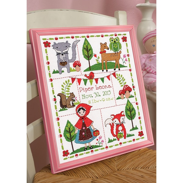 Little Red Riding Hood Birth Record Counted Cross Stitch Kit 10inX13in 14 Count 15680405