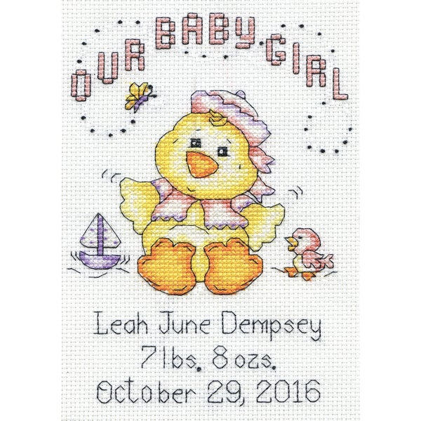 Our Baby Girl Chick Birth Record Mini Counted Cross Stitch K 5inX7in 14 Count