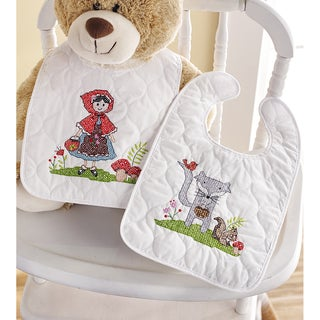Little Red Riding Hood Bib Pair Stamped Cross Stitch Kit 9inX14in Set Of 2