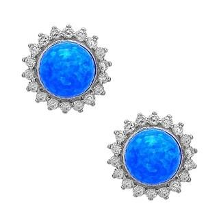 La Preciosa Sterling Silver Created Opal Bead and Cubic Zirconia Circle Stud Earrings