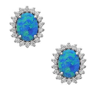 La Preciosa Sterling Silver Created Opal and Cubic Zirconia Framed Oval Stud Earrings