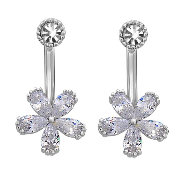 La Preciosa Sterling Silver Cubic Zirconia and Crystal Flower Ear Cuff Earrings