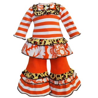 AnnLoren 2-piece Orange Stripes and Leopard Print Ruffle 18-inch Doll Outfit
