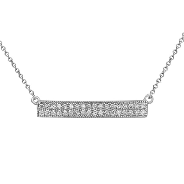La Preciosa Sterling Silver Cubic Zirconia Double Row Bar Necklace
