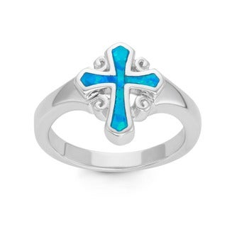 La Preciosa Sterling Silver Blue Opal Cross Ring