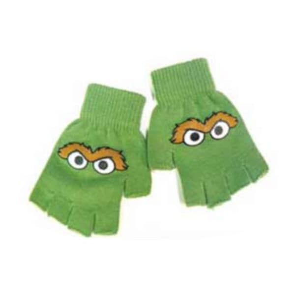 Oscar The Grouch Face Sesame Street Fingerless Gloves (pair)