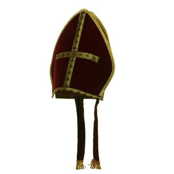 Burgundy Bishop Hat Roman Catholic Cardinal Priest Adult Pope Costume Crown